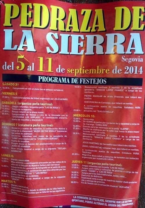 Cartel Fiestas Pedraza 2014