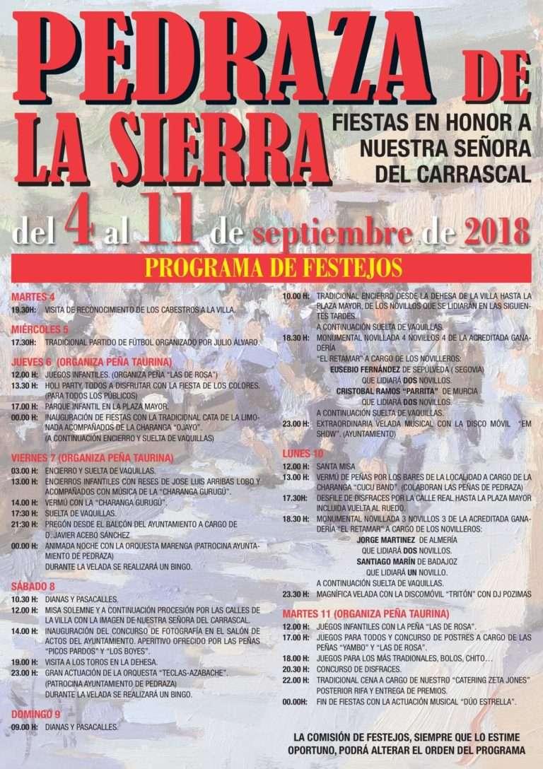 Cartel de las fiestas de Pedraza 2018