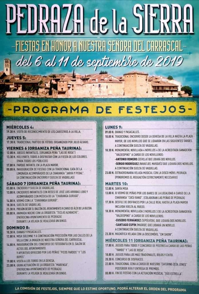 Cartel de las fiestas de Pedraza 2019